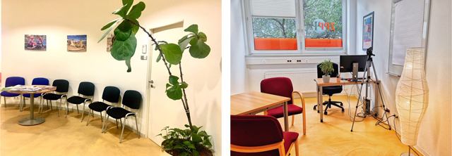 Waiting area and treatment room in the CPP outpatient clinic for adults in the Lange Rötterstraße 11-17